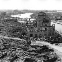 The A-Bomb Dome, former Hiroshima Prefectural Industrial Promotion Hall. | HIROSHIMA PEACE MEMORIAL MUSEUM