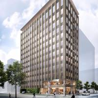 An artist's rendition of the Edition hotel scheduled to open in Tokyo's Ginza district in 2020. | KYODO