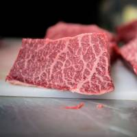Slices of Japanese wagyu beef sit inside the kitchen at a restaurant. Taiwan has conditionally lifted a ban since 2001 on beef imported from Japan. | BLOOMBERG