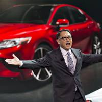 Toyota Motor Corp. President Akio Toyoda speaks during the 2017 North American International Auto Show in Detroit in January. | BLOOMBERG