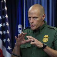 U.S. Customs and Border Protection Acting Deputy Commissioner Ronald Vitiello speaks to reporters during a news conference announcing the selected vendors for construction of the concrete wall prototypes for the border wall Thursday in Washington. | AP