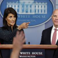 National security adviser H.R. McMaster and U.S. Ambassador to the United Nations Nikki Haley participate in a news briefing at the White House in Washington Friday. | AP