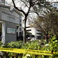 Police tape surrounds the Rehabilitation Center in Hollywood Hills, Florida, which had no air conditioning after Hurricane Irma knocked out power, Wednesday. Several patients at the sweltering nursing home died in Hurricane Irma's aftermath, raising fears Wednesday about the safety of Florida's 4 million senior citizens amid widespread power outages that could go on for days. | JOHN MCCALL / SOUTH FLORIDA SUN-SENTINEL / VIA AP