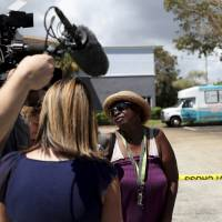 Flora Mitchell answers questions from the media outside the Rehabilitation Center at Hollywood Hills in Hollywood, Florida, Wednesday. | JOHN MCCALL / SOUTH FLORIDA SUN-SENTINEL / VIA AP
