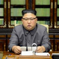 North Korean leader Kim Jong Un makes a statement regarding U.S. President Donald Trump's speech at the U.N. general assembly, in this undated photo released Friday. | KCNA / VIA REUTERS