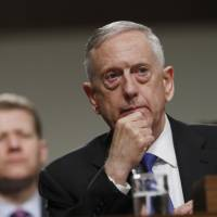 U.S. Defense Secretary Jim Mattis testifies before a Senate Armed Services Committee hearing on the Pentagon's budget on Capitol Hill in Washington on June 13. | AP