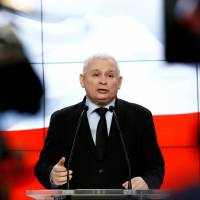 Jaroslaw Kaczynski, the leader of Poland's ruling Law and Justice Party (PiS), speaks during a March news conference in Warsaw. | REUTERS