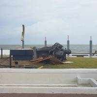 A sculpture lies on its side after Hurricane Maria hit San Juan Wednesday in this image taken from a social media. | SEBASTIAN PEREZ / VIA REUTERS