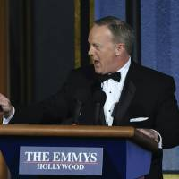 In surprise appearance, Sean Spicer takes to Emmys stage to declare 'largest audience' ever to witness awards show