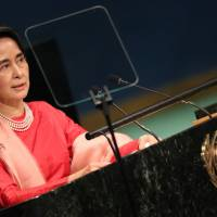 Myanmar leader Aung San Suu Kyi addresses the 71st United Nations General Assembly in New York in September last year. | REUTERS