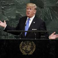 U.S. President Donald Trump addresses the 72nd session of the United Nations General Assembly in New York on Tuesday. | AP