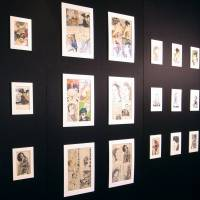 Drawings and block prints, created by a deceased man who was the father of a Kyodo News reporter, are displayed in a secular funeral in March 30 in Yokohama. | KYODO