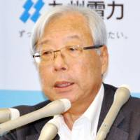 Kyushu Electric Power Co. President Michiaki Uryu faces the media during a news conference in the city of Fukuoka on Tuesday. | KYODO