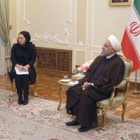 Masahiko Komura, a special envoy of Prime Minister Shinzo Abe, holds talks with Iranian President Hassan Rouhani in Tehran on Wednesday. | KYODO