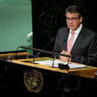 German Vice Chancellor Sigmar Gabriel addresses the 72nd United Nations General Assembly at U.N. headquarters in New York Thursday. | REUTERS