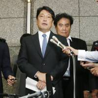 Defense Minister Itsunori Onodera speaks to reporters on Wednesday at the Defense Ministry in Tokyo. | KYODO