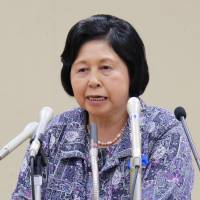Ex-abductee Hitomi Soga, who was repatriated from North Korea in 2012, speaks at a news conference Wednesday in Sado, Niigata Prefecture, ahead of the 15th anniversary next month of her return home. | KYODO