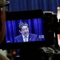 Prime Minister Shinzo Abe speaks at a news conference in Tokyo on Monday to announce plans for a snap election.   REUTERS