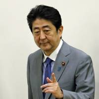 Prime Minister Shinzo Abe arrives for an U.N. event in New York on Monday. | REUTERS