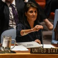 U.S. Ambassador to the United Nations Nikki Haley prepares to deliver remarks during a U.N. Security Council meeting on North Korea in New York on Monday. | REUTERS