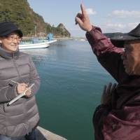 Point taken: Megumi Sasaki speaks with one of Taiji's residents for her documentary 'A Whale of a Tale.' | © 2016 A WHALE OF A TALE PROJECT TEAM