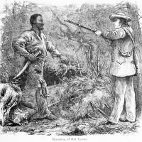 Etched in American history: A wood engraving by William Henry Shelton titled 'Discovery of Nat Turner' depicts the capture of slave revolt leader Turner in 1831. | PUBLIC DOMAIN