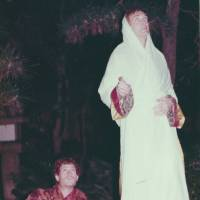 Alex Kerr (left) is pictured with David Kidd, dressed in Tibetan robes, on the moon-viewing platform of David's palace in Ashiya, Hyogo Prefecture, in 1976.   COURTESY OF ALEX KERR