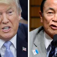 U.S. President Donald Trump waited two days before finally condemning recent deadly violence by neo-Nazis and other white supremacists in Charlottesville, Virginia. Last month, Deputy Prime Minister Taro Aso said that 'Hitler, who killed millions of people, was no good, even if his motives were right.' | BLOOMBERG/AFP-JIJI