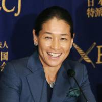 Kimiko Date speaks during a news conference at the Foreign Correspondents' Club of Japan on Wednesday. | KYODO
