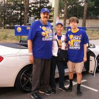 Tom Meschery, his wife Melanie and her grandson John Clark attend the Golden State Warriors' NBA championship victory parade this summer in Oakland, California. | MELANIE MARCHANT MESCHERY