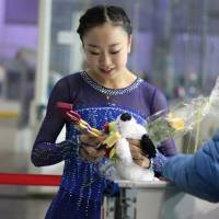 Moa Iwano leaves the ice after her free skate on Saturday at the Junior Grand Prix in Salzburg, Austria. Iwano placed sixth in her JGP debut. | SOURCE: FACEBOOK
