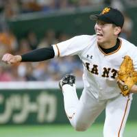 Yomiuri starting pitcher Seishu Hatake delivers during the Giants' 6-1 win over the BayStars on Sunday at Tokyo Dome. | KYODO