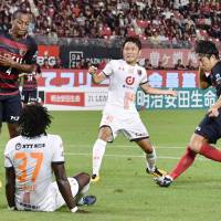 The Antlers' Mu Kanazaki scores a 33rd-minute goal against visiting Ardija on Saturday. Kashima beat Omiya 1-0. | KYODO