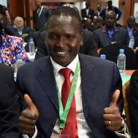 Paul Tergat, the newly elected president of the National Olympic Committee of Kenya, celebrates  after his election in Nairobi on Friday. | AFP-JIJI