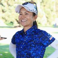 Ai Miyazato speaks to the media after the third round of the Portland Classic on Saturday. | KYODO