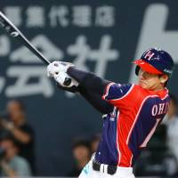 Shohei Otani is hitting .346 with seven home runs and 28 RBIs in 162 at-bats this season. | KYODO