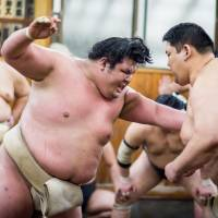 Onosho (left) trains at his Onomatsu stable in this December 2016 file photo. Onosho won his first five bouts at the Autumn Grand Sumo Tournament and ended with a 10-5 record. | JOHN GUNNING