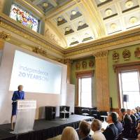 British Prime Minister Theresa May speaks during the Bank of England 'Independence 20 years on' conference, which marks two decades of operational independence from the UK government, at Fishmongers Hall in London Thursday. May on Thursday lambasted the behavior of Boeing after it complained that Canadian rival Bombardier used unfair government subsidies to sell planes at artificially low prices. | JOHN STILLWELL / PA / VIA AP