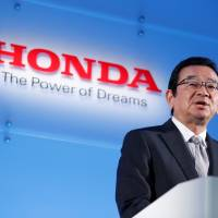 Honda Motor Chief Executive Officer Takahiro Hachigo speaks at a news conference in Tokyo on Wednesday. | REUTERS