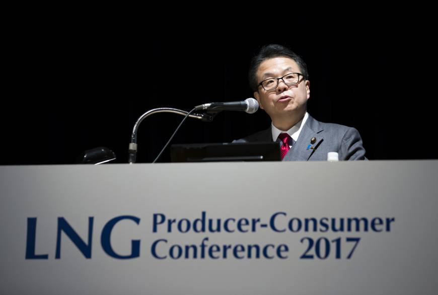 Hiroshige Seko, minister of economy, trade and industry, speaks during the LNG Producer-Consumer Conference 2017 in Tokyo on Wednesday. | BLOOMBERG
