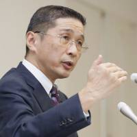 Nissan Motor Co. CEO Hiroto Saikawa, who also chairs the Japan Automobile Manufacturers Association, gives a news conference last week at Nissan's headquarters in Yokohama. | KYODO
