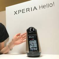 Sony Mobile Communications Inc.'s Xperia Hello reads and displays news during a demonstration in Tokyo on Tuesday. | KAZUAKI NAGATA