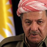 Iraqi Kurdish leader Massoud Barzani speaks during a news conference in Irbil Iraq, on Sept. 24, the eve of the referendum on independence. | AFP-JIJI