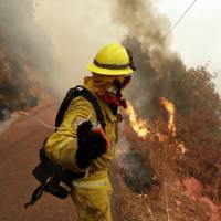 Sonoma firefighter Pete Avencino launches an incendiary device during a backburn operation on Oct. 13. | AP