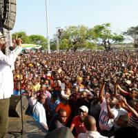 Kenyan opposition leader Raila Odinga, the presidential candidate of the National Super Alliance (NASA) coalition, addresses supporters during a rally in Mombasa, Kenya, Sunday. | REUTERS