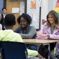 Melania Trump steps from husband's shadow and tells schoolchildren to fight bullies