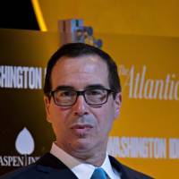 Steven Mnuchin, U.S. Treasury secretary, listens to a question during a discussion at The Atlantic's Washington Ideas conference in Washington on Thursday. Mnuchin at the event said the GOP's plan in its tax proposal for 2.9% annual growth over a decade is 'doable' and that 6 percent growth is 'optimistic.' | BLOOMBERG