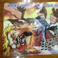 An anti-Donald Trump leaflet believed to come from North Korea by balloon is pictured in this undated photo released Monday. The text in Korean reads from the top 'For the peaceful world without war and for the future of mankind' and 'Butcher a mad dog Trump!' | REUTERS