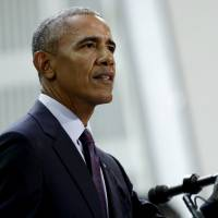 Former President Barack Obama speaks during a conference hosted by the Bill and Melinda Gates Foundation on Sept. 20 in New York. Obama is stepping back into the political spotlight for the first time since leaving the White House, stumping for Democratic gubernatorial candidates in Virginia and New Jersey for this fall's elections. | AP