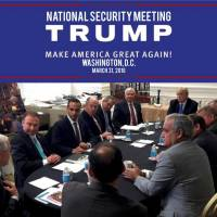 George Papadopoulos (third from left) appears in a photograph released on Donald Trump's social media accounts with a headline stating that the scene was of his campaign's national security meeting in Washington on March 31, 2016 and published April 1, 2016. | SOCIAL MEDIA / HANDOUT / VIA REUTERS